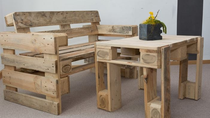 Table and Bench Made from Pallets