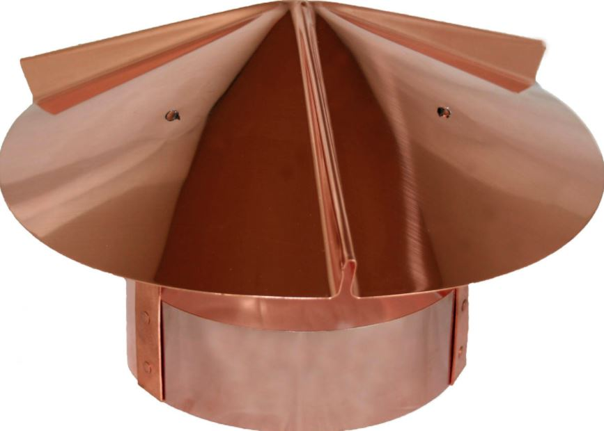 Copper boiler vent cover for outdoors