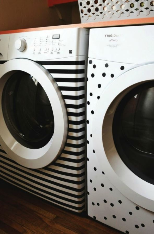 Poker dot & striped decals on washer/dryer