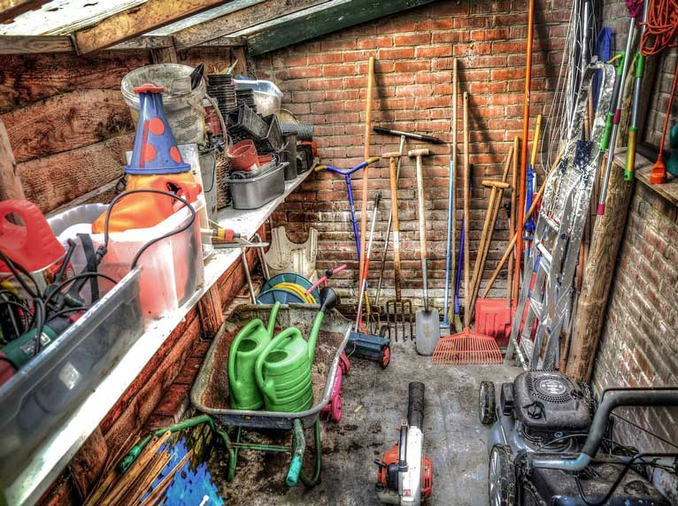 a cluttered messy shed