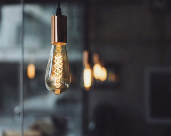 A hanging lightbulb